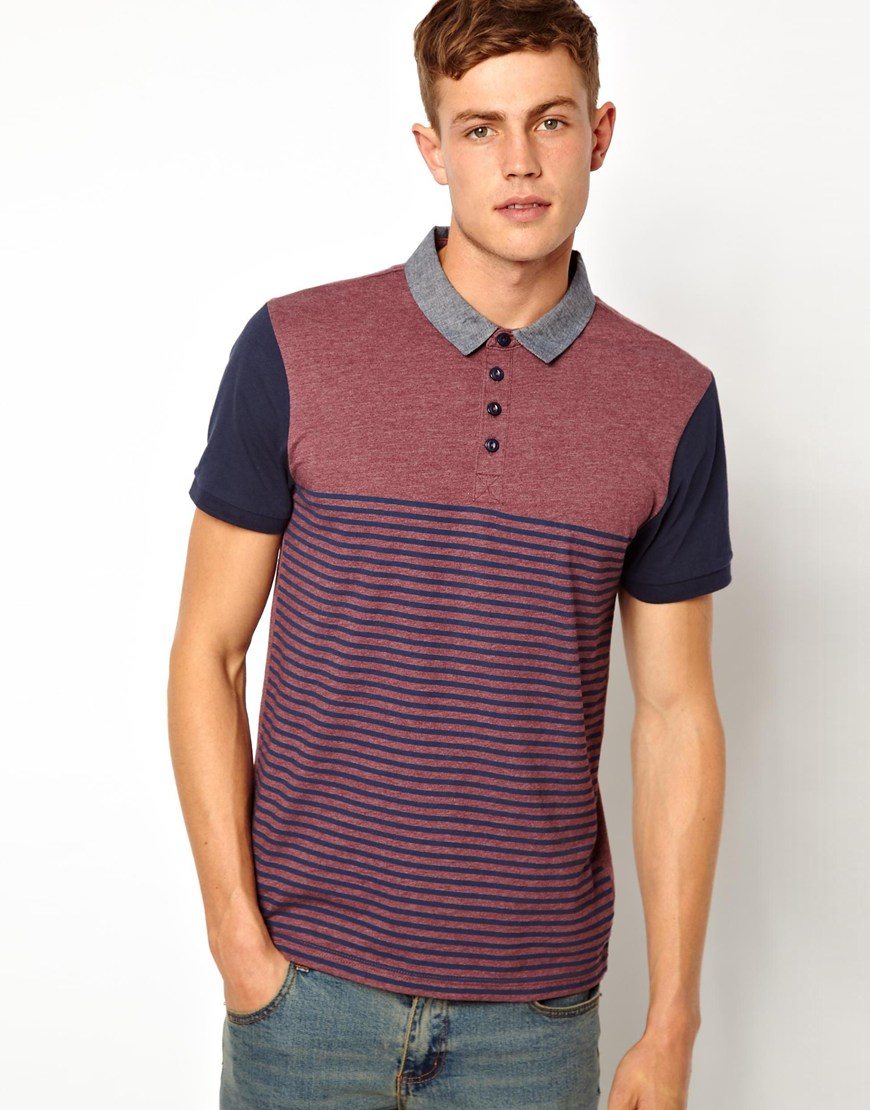 Lyst Asos New Look Polo Shirt In Stripe In Purple For Men
