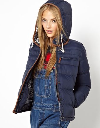 Love Bellfield Padded Jacket with Fairisle Hood - Lyst