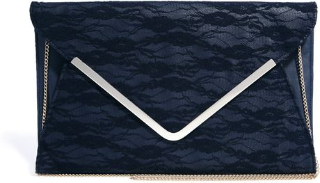 Asos New Look Navy Lace Parker Clutch Bag in Blue (Navy)