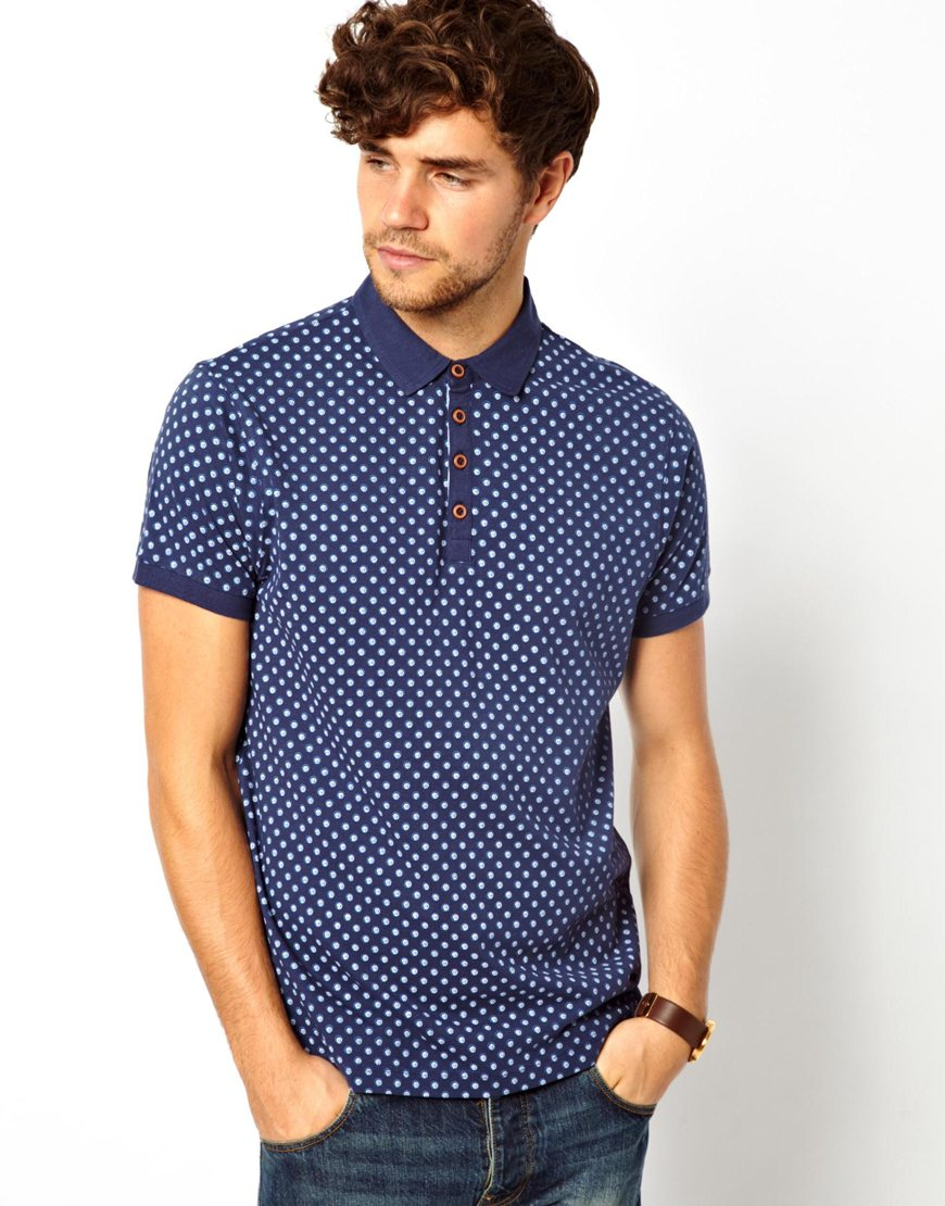 Asos New Look Polo Shirt With Print In Blue For Men Navy