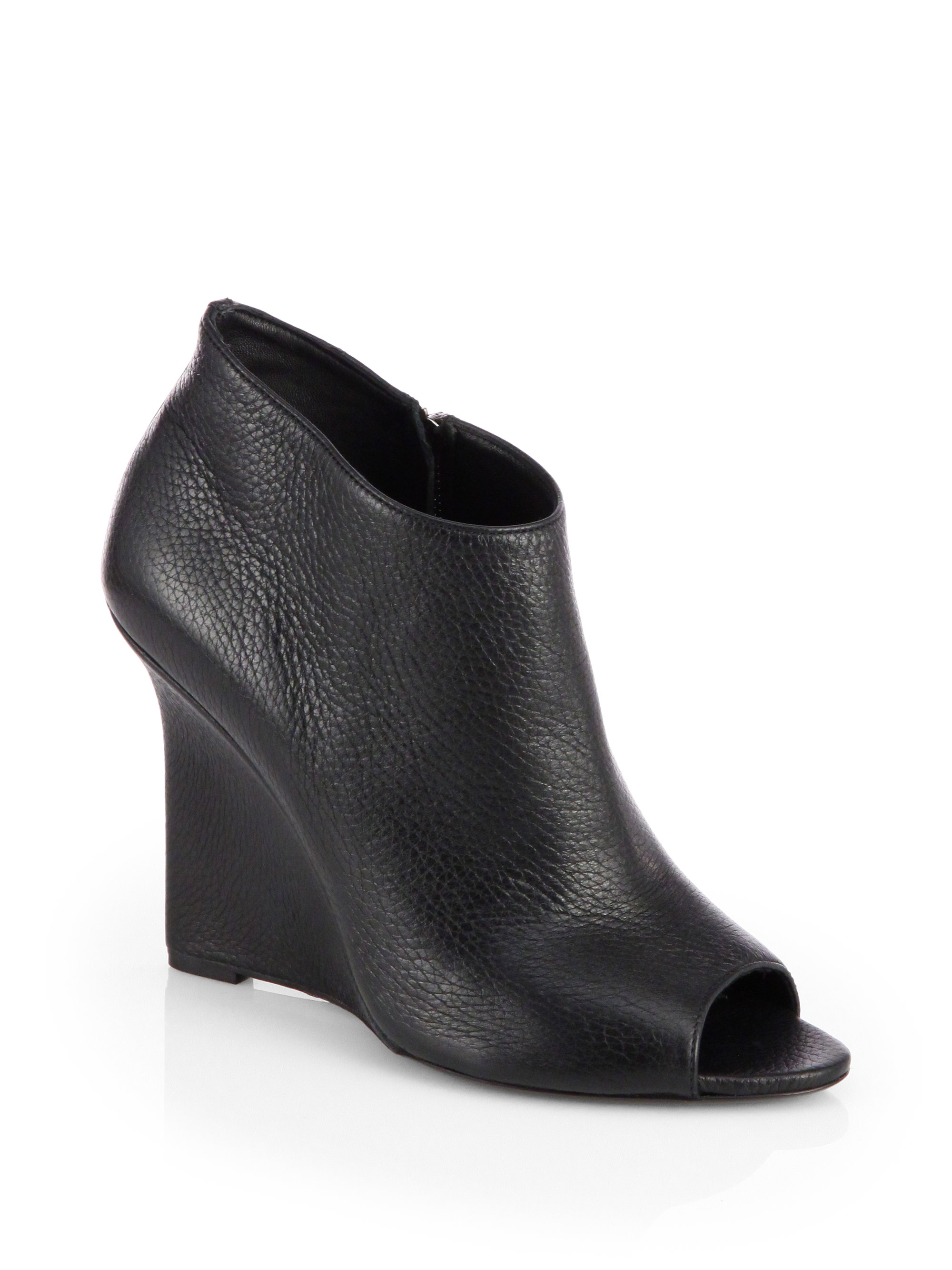 burberry prorsum boucher leather opentoe wedge ankle boots