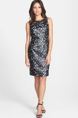 Calvin Klein Faux Leather Appliqué Sheath Dress - Lyst