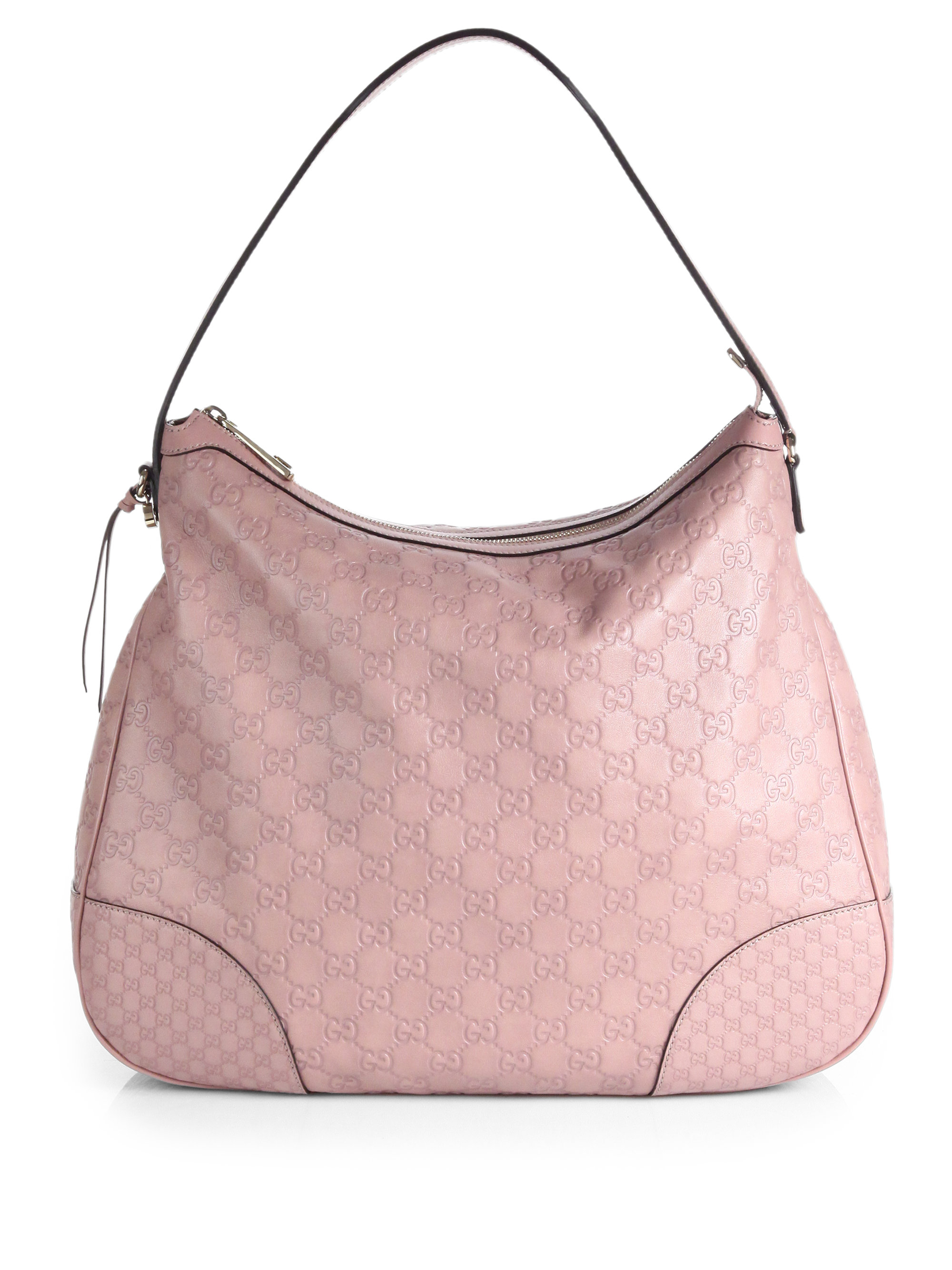 Gucci Bree Ssima Leather Hobo Bag in Pink | Lyst