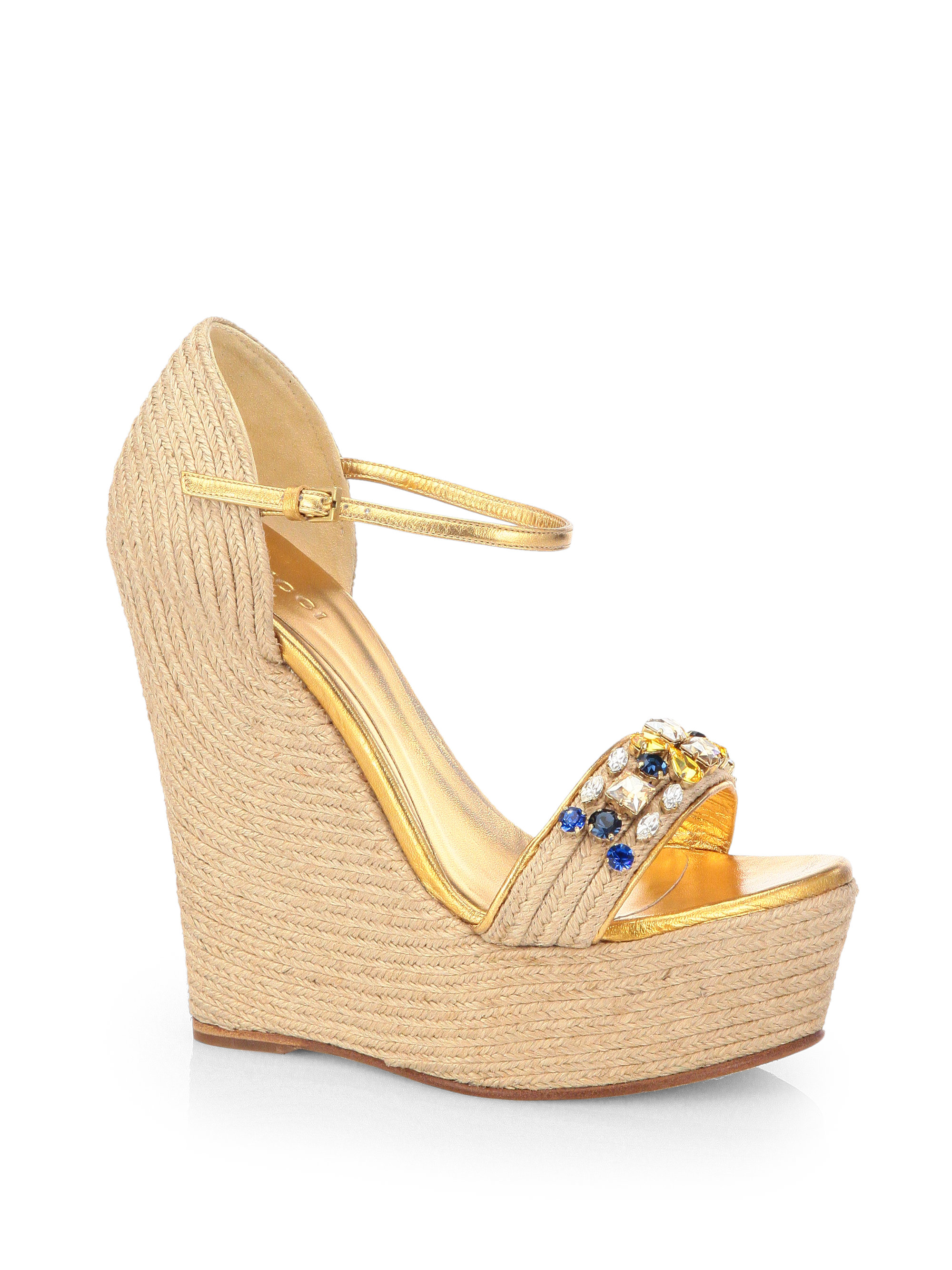 413c3f9c92a2 Gucci Jeweled Espadrille Wedge Sandals in Natural - Lyst
