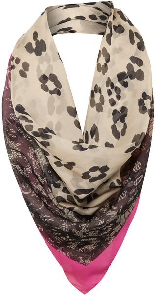 Helene Berman Animal and Lace Print Silk Scarf - Lyst