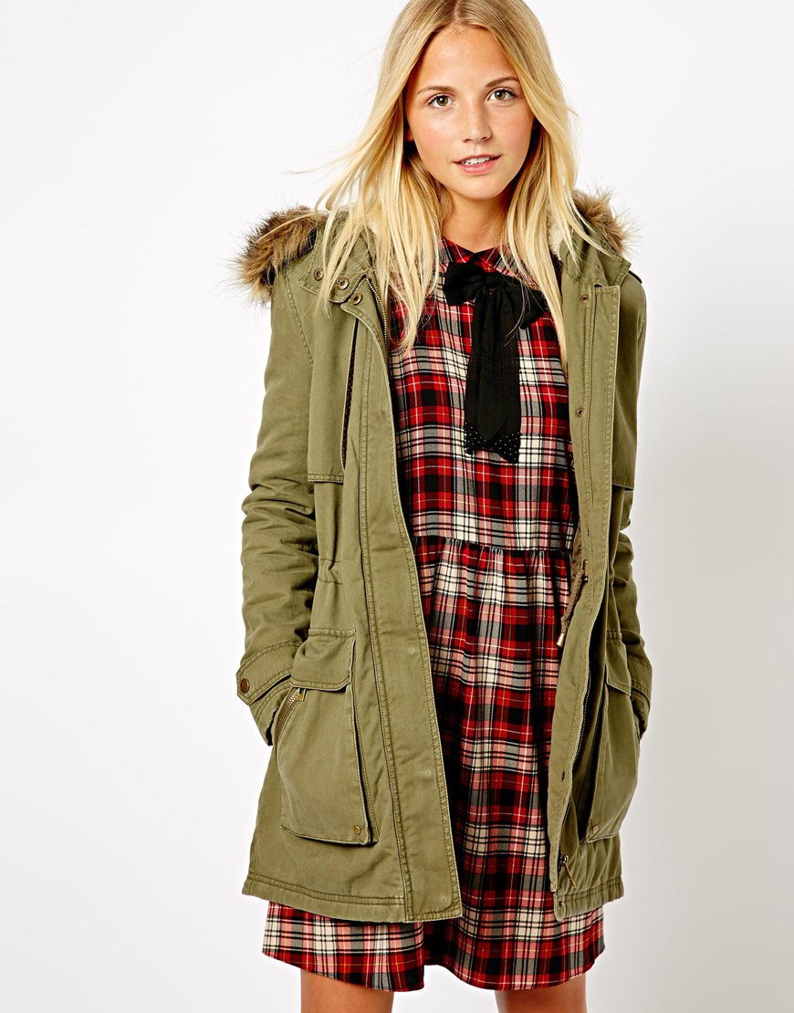 Asos Parka with Faux Fur Trim Hood in Green | Lyst