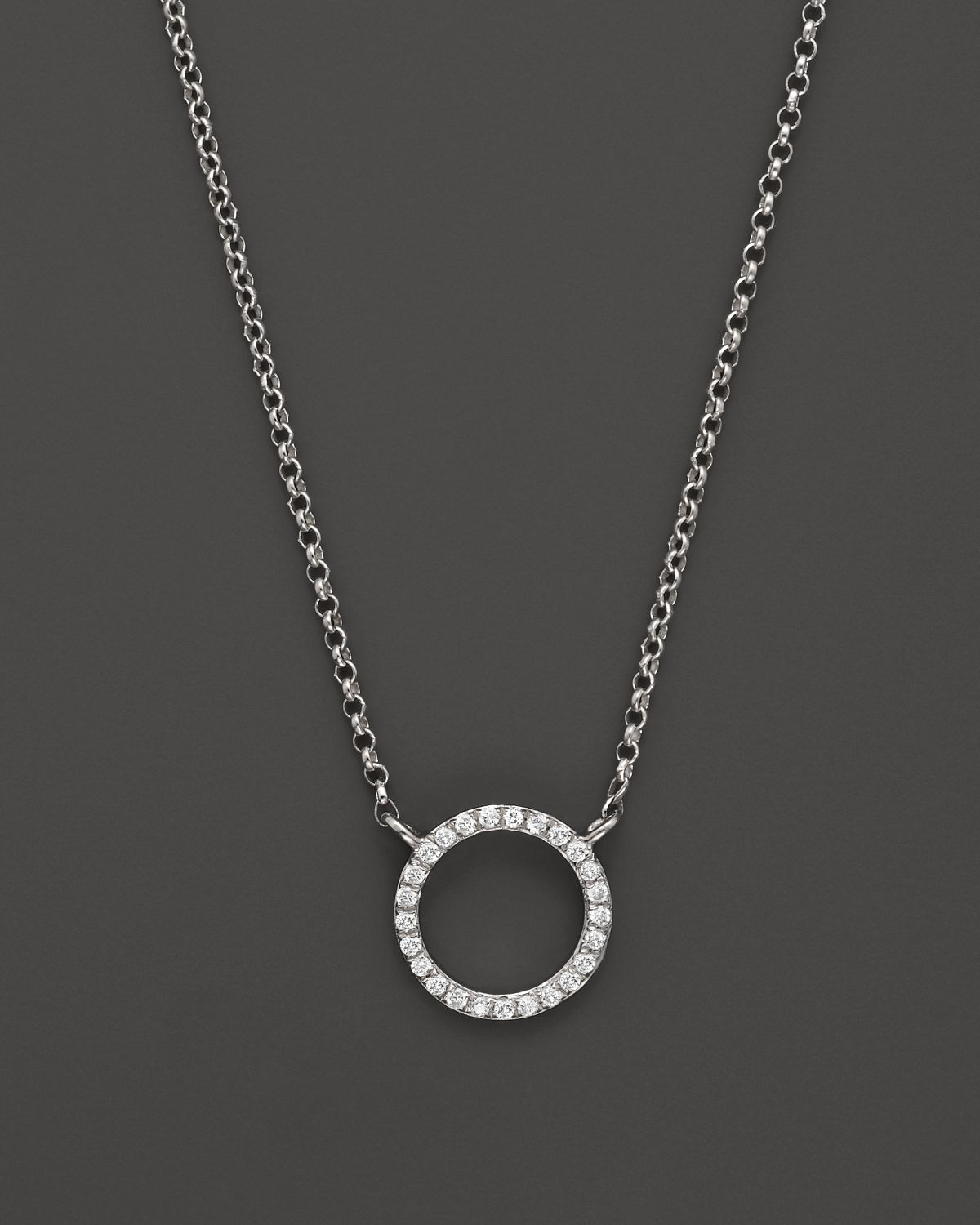 Lyst kc designs small diamond circle pendant in 14k white gold in gallery aloadofball Image collections