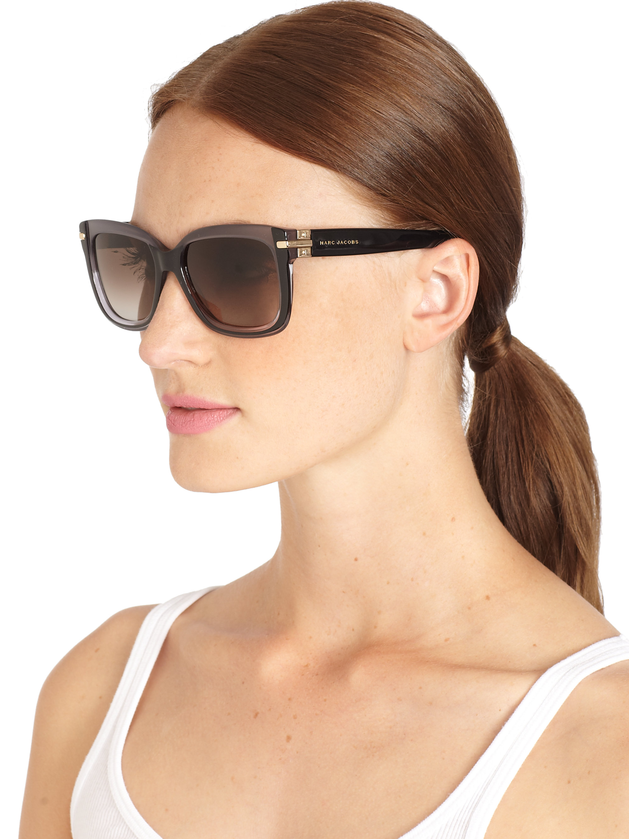 Marc Jacobs Oversized Aviator Sunglasses  marc jacobs oversized acetate square sunglasses in black lyst