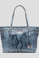Michael by Michael Kors Tote Small Jet Set Snake Embossed Travel Jewel - Lyst