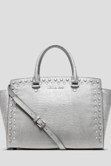 Michael by Michael Kors Satchel Large Selma Jewel Lizard Embossed - Lyst