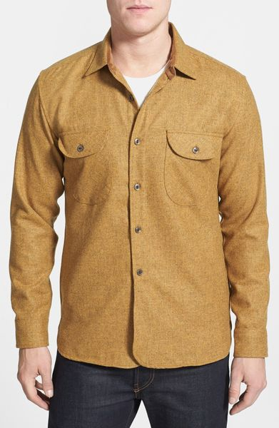 Pendleton oliver wool flannel shirt in brown for men for Mens wool flannel shirt