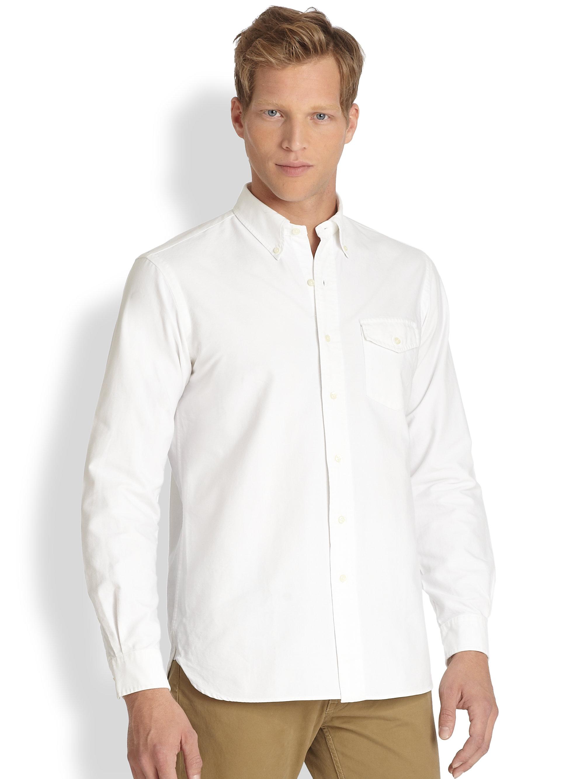 Polo ralph lauren oxford pocket shirt in white for men lyst for White oxford shirt mens