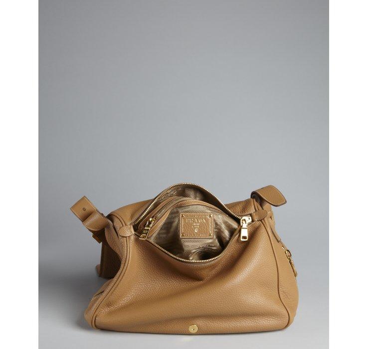 Prada Natural Brown Pebbled Leather Foldover Shoulder Bag in Brown ...
