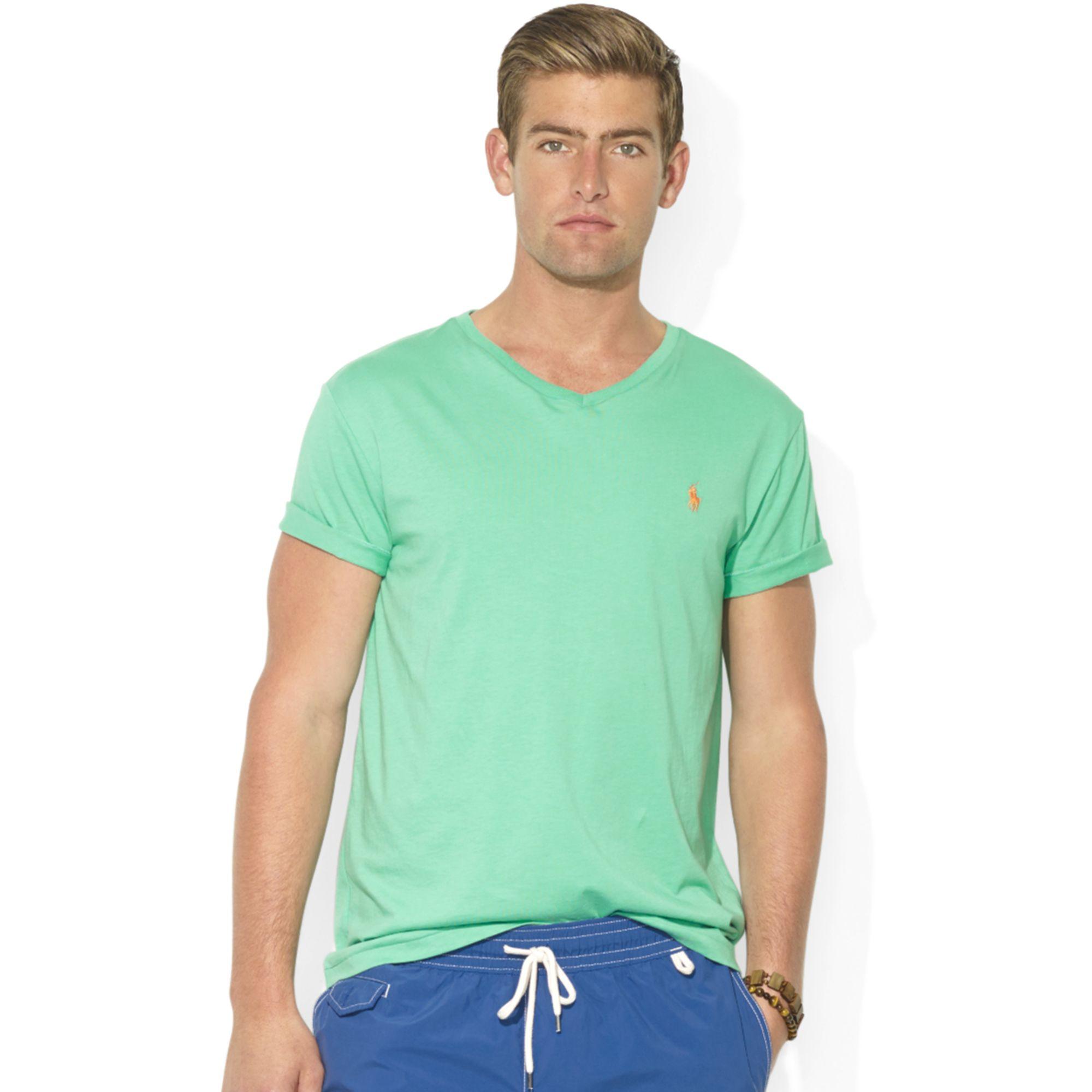 ralph lauren medium fit v neck cotton jersey t shirt in. Black Bedroom Furniture Sets. Home Design Ideas