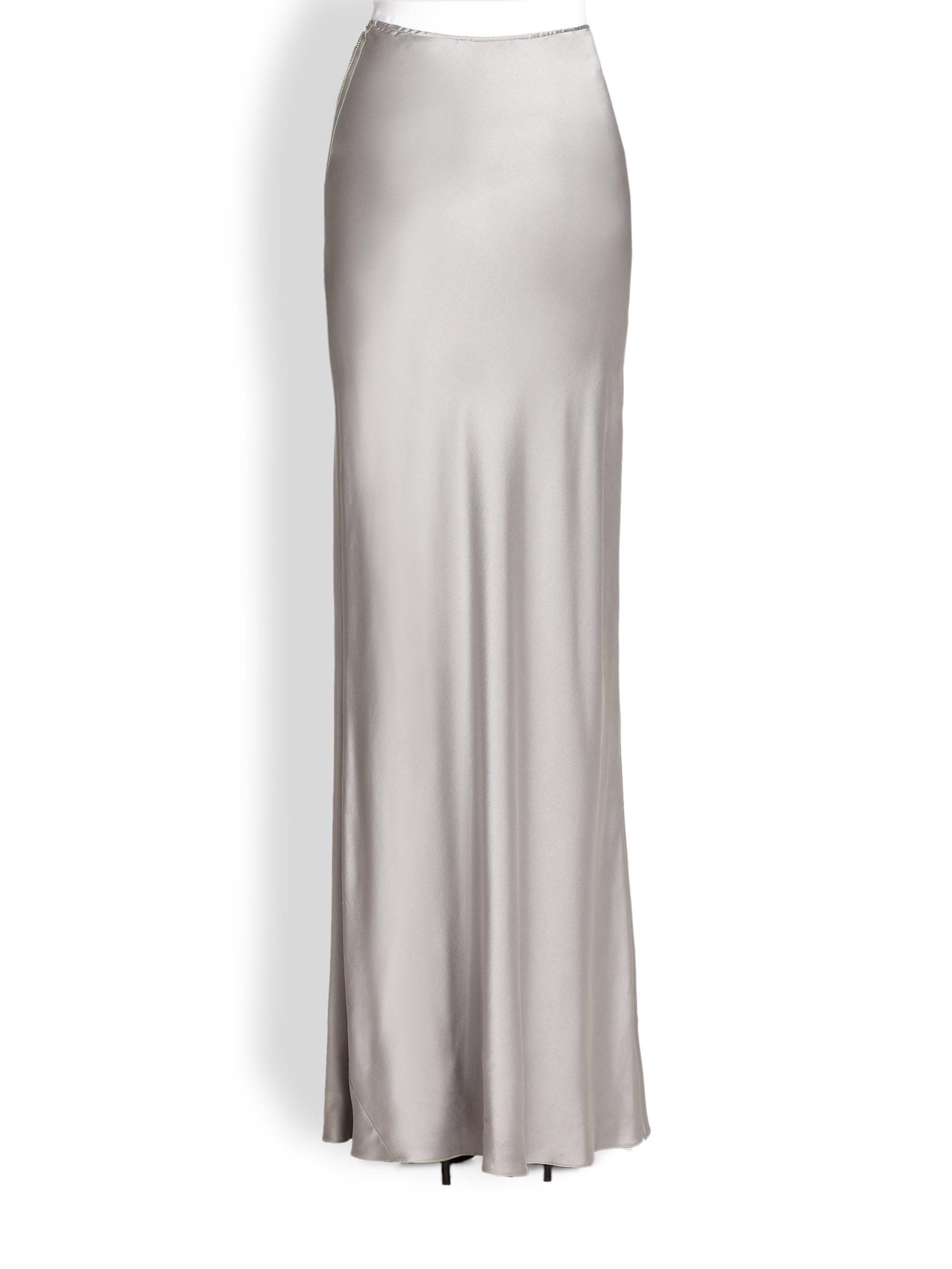 Tess giberson Long Silk Skirt in Metallic | Lyst