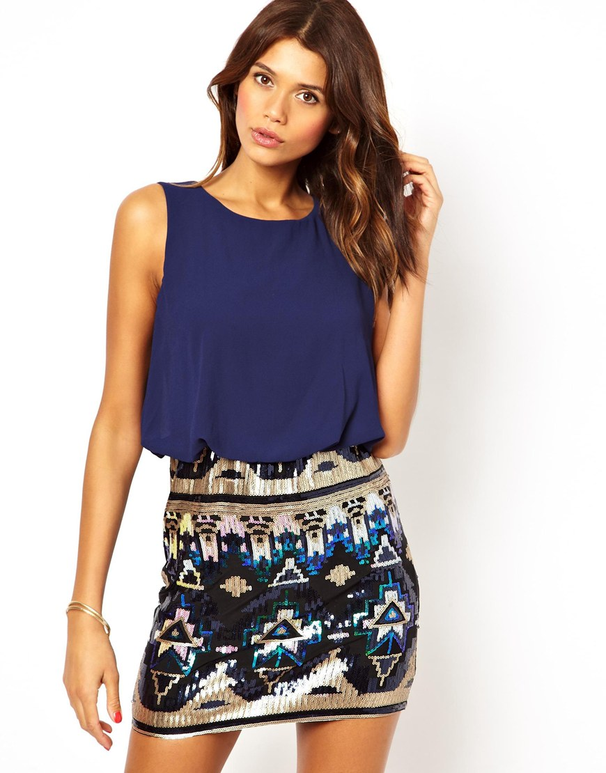 Tfnc Dress with Blouson Top and Sequin Skirt in Blue ...