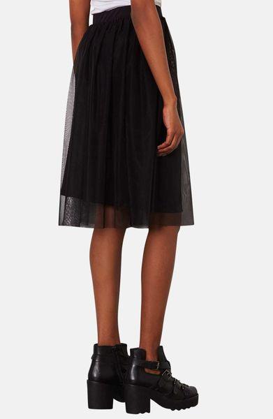 topshop tulle midi skirt in black lyst