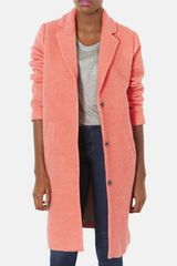 Topshop Wool Blend Boyfriend Coat - Lyst