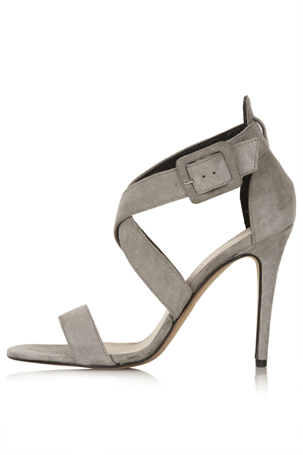 Topshop Rustle Suede Strappy Heels in Gray | Lyst