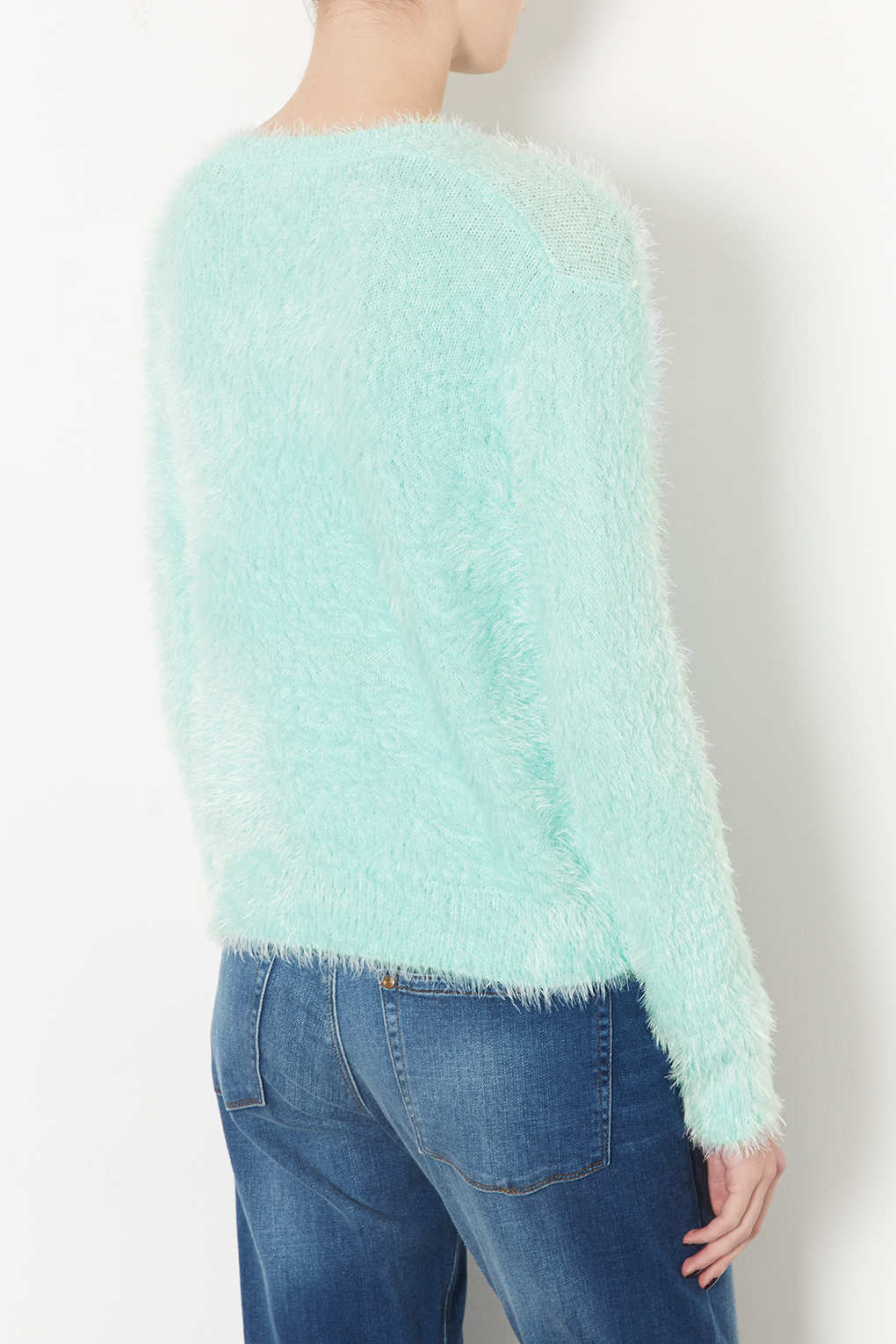 Lyst Topshop Knitted Lashes Crew Jumper In Green