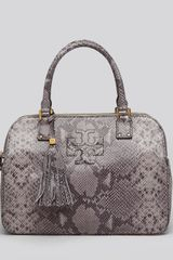 Tory Burch Satchel Thea Snake Embossed Triple Zip Compartment - Lyst
