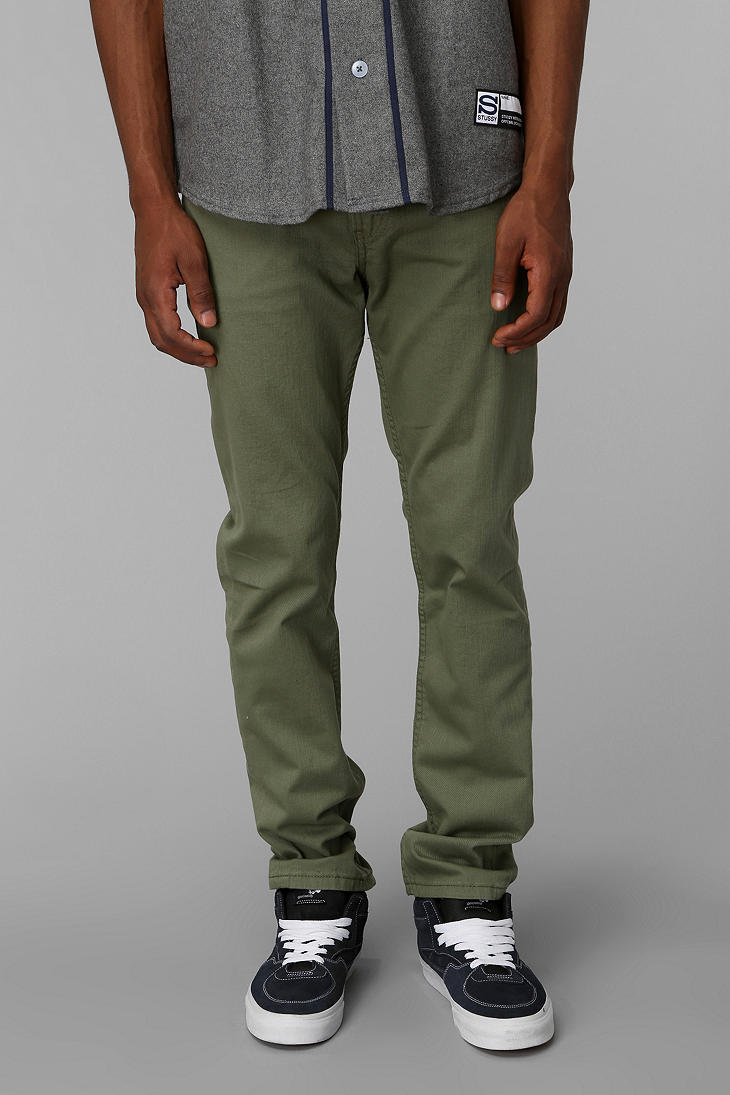 Urban outfitters Skinny Stonewashed Twill Pant in Green for Men | Lyst