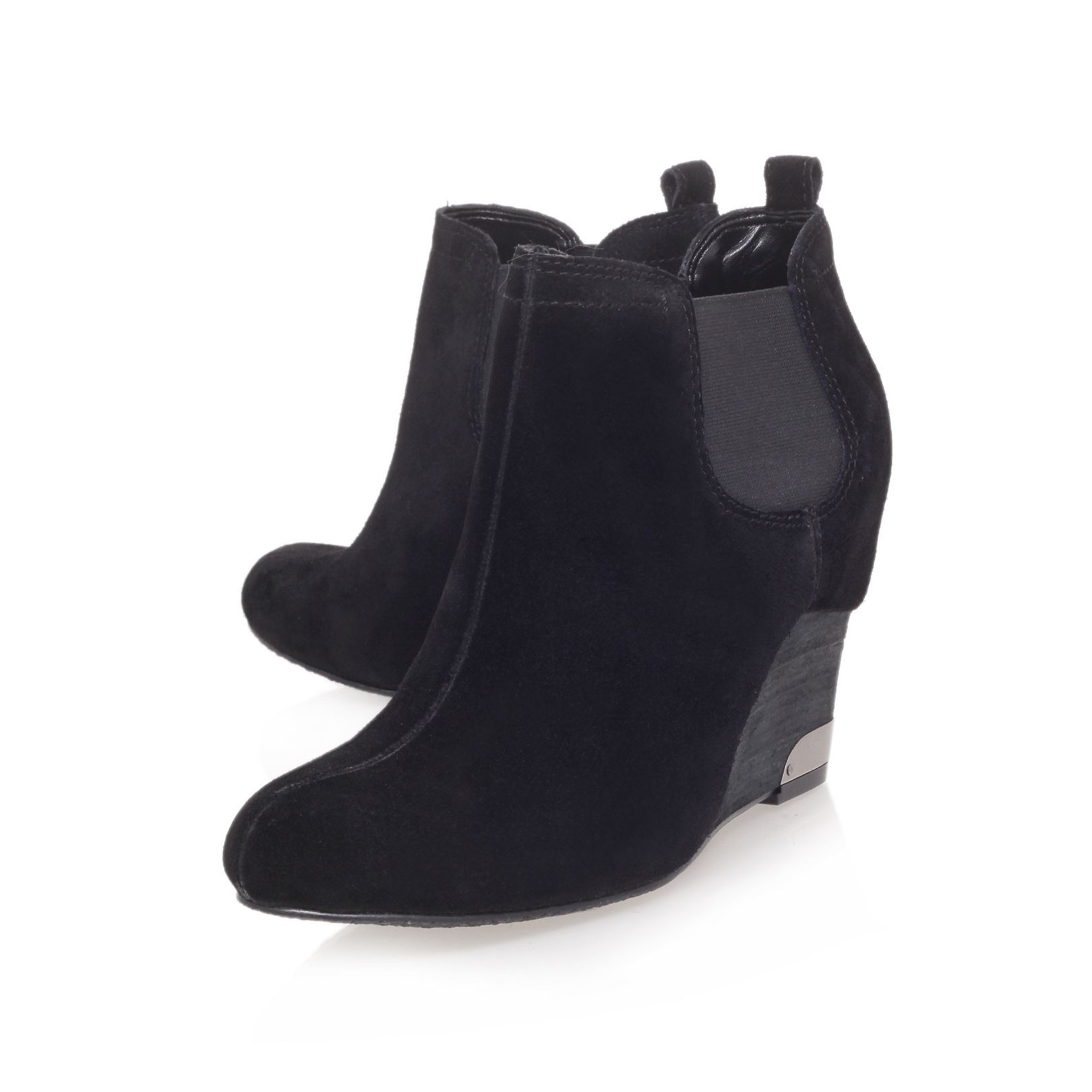 vince camuto hainsly mid heel wedge boots in black lyst