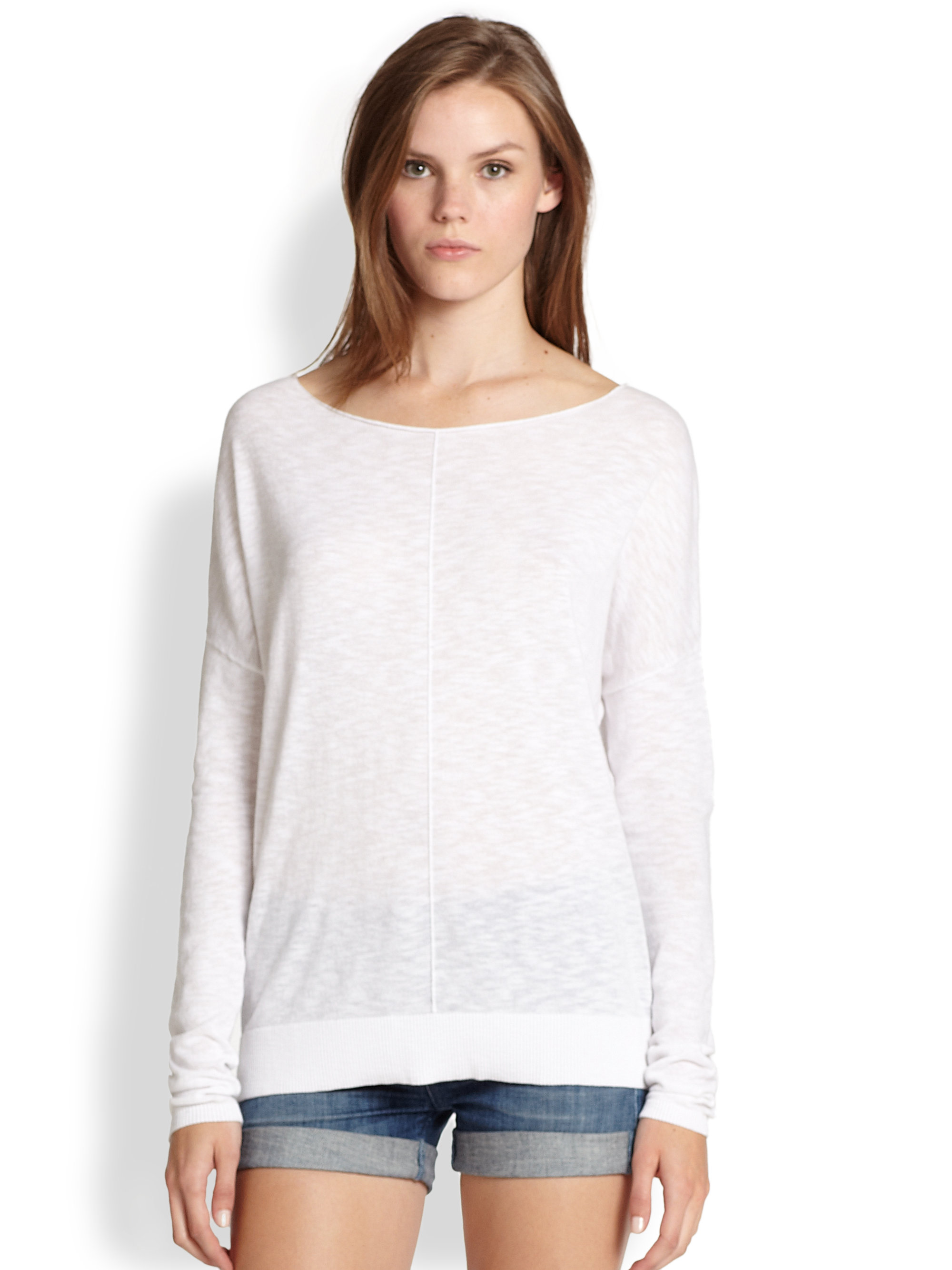 Vince Rolled Cotton Slub Sweater in White   Lyst