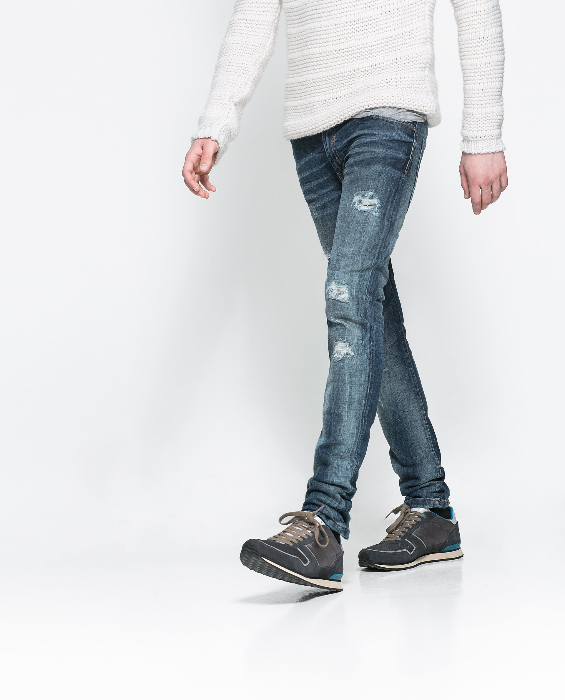 Zara Ripped Skinny Jeans in Blue for Men | Lyst