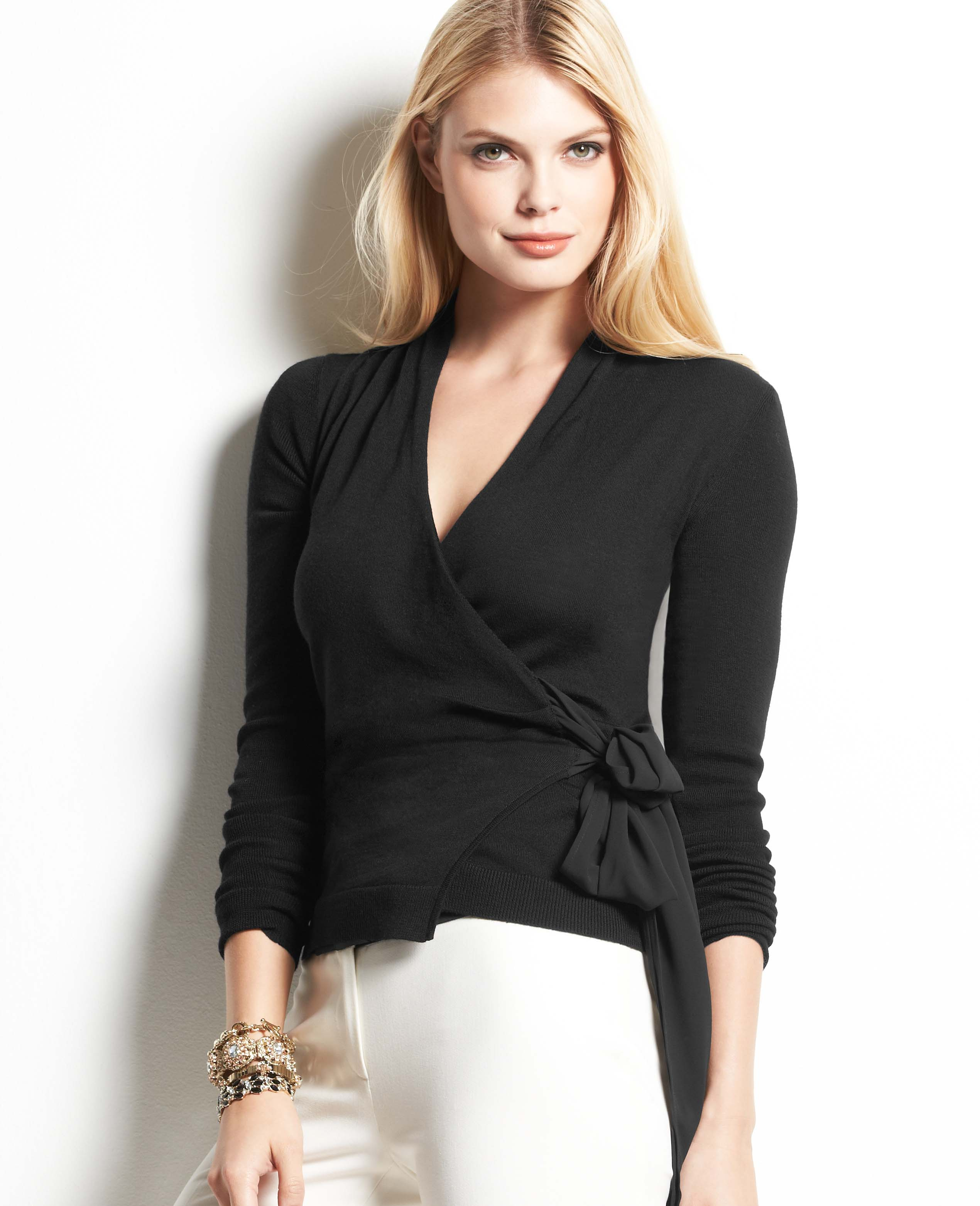 Ann taylor Merino Wool Wrap Sweater in Black | Lyst