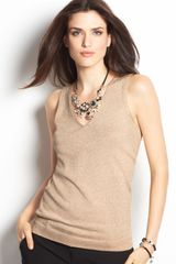 Ann Taylor Metallic Sweater Tank Top - Lyst