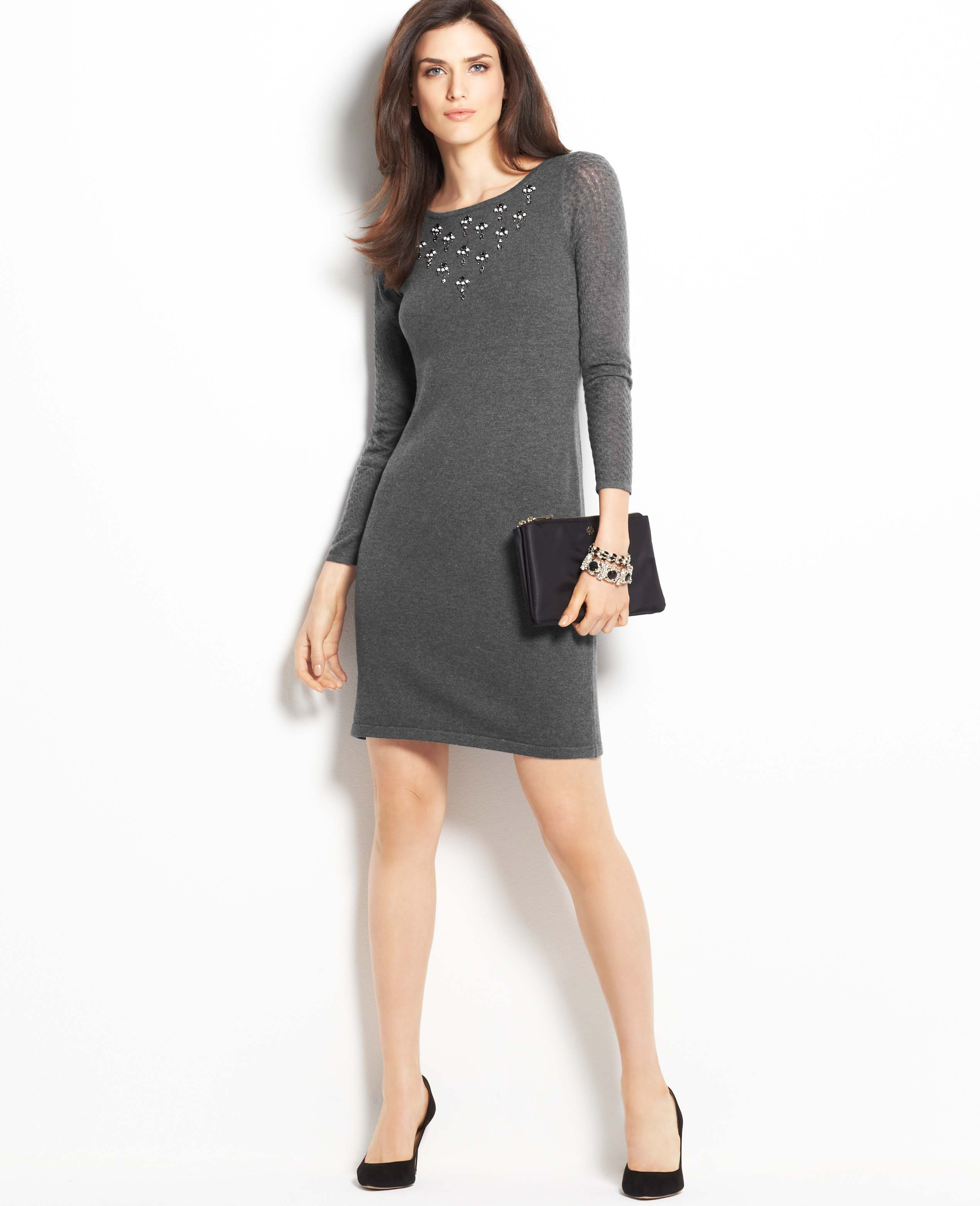 b2517f3f557 Ann Taylor Embellished Sweater Dress in Gray - Lyst