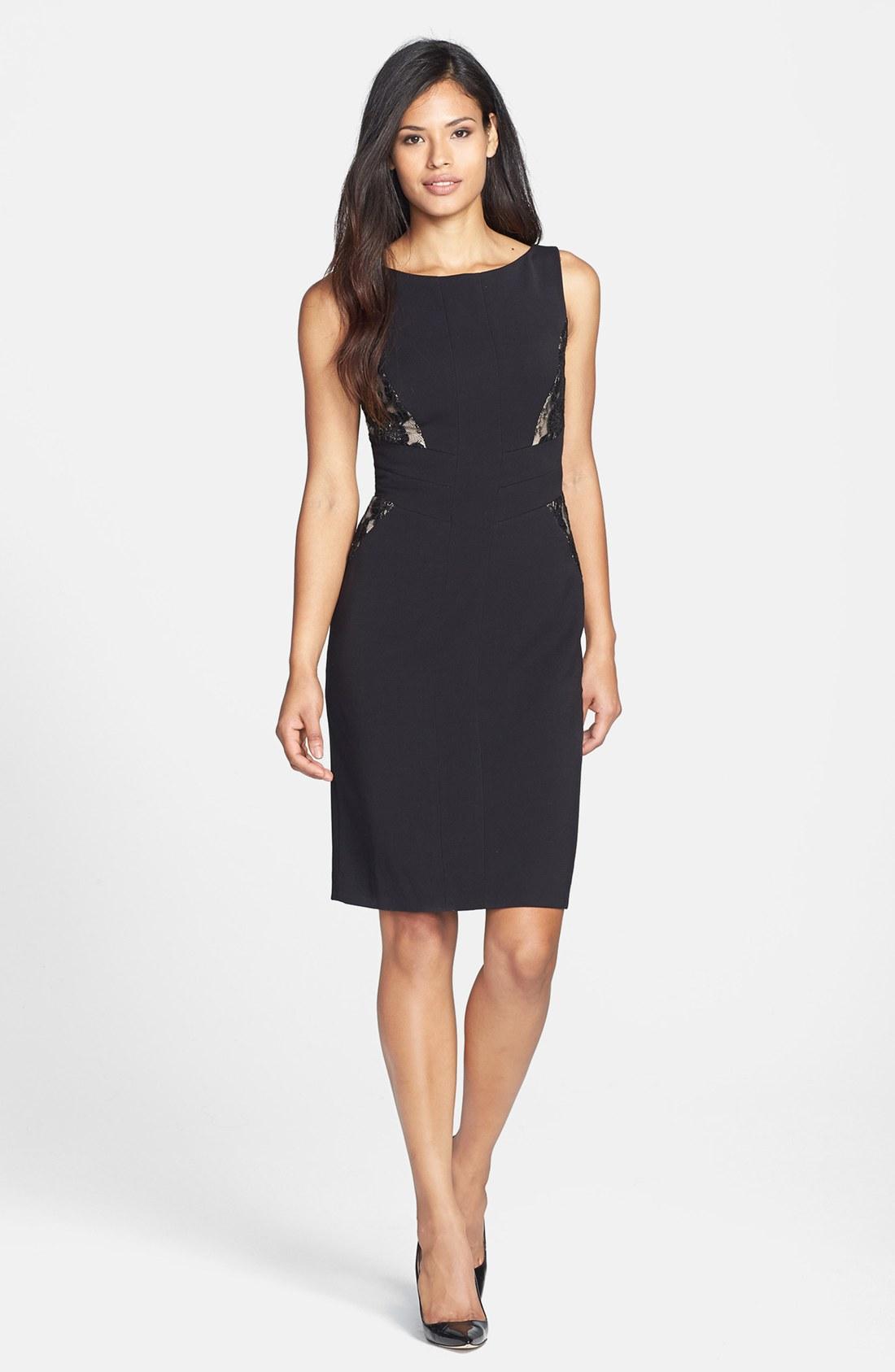 anne klein mixed media sheath dress in black lyst