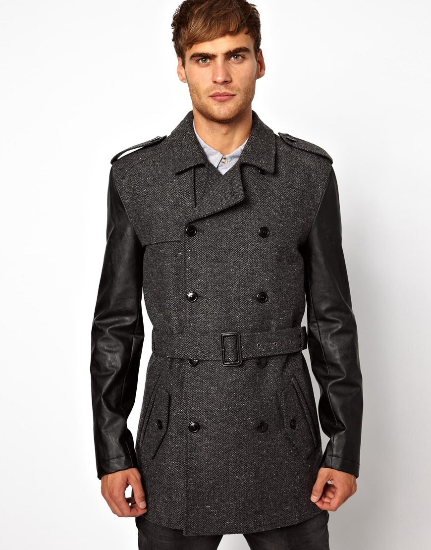 Asos River Island Tweed Trench Jacket in Gray for Men | Lyst
