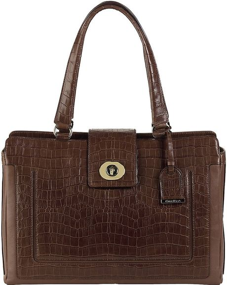 Cole Haan Lafayette Crocembossed Leather Tote Bag in Brown