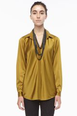 Eileen Fisher Silk Long Sleeve Shirt - Lyst