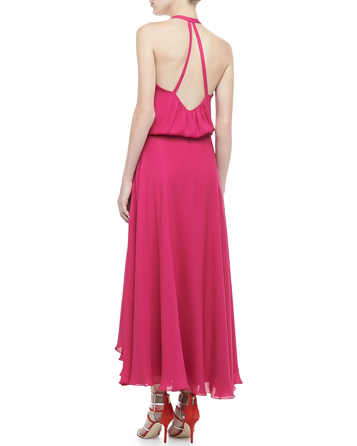 4d763cf4fd Lyst - Haute Hippie Halter Faux-Wrap Maxi Dress in Pink