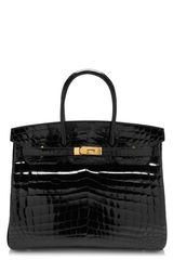 Heritage Auctions Special Collections 35cm Shiny Black Nilo Crocodile Birkin - Lyst