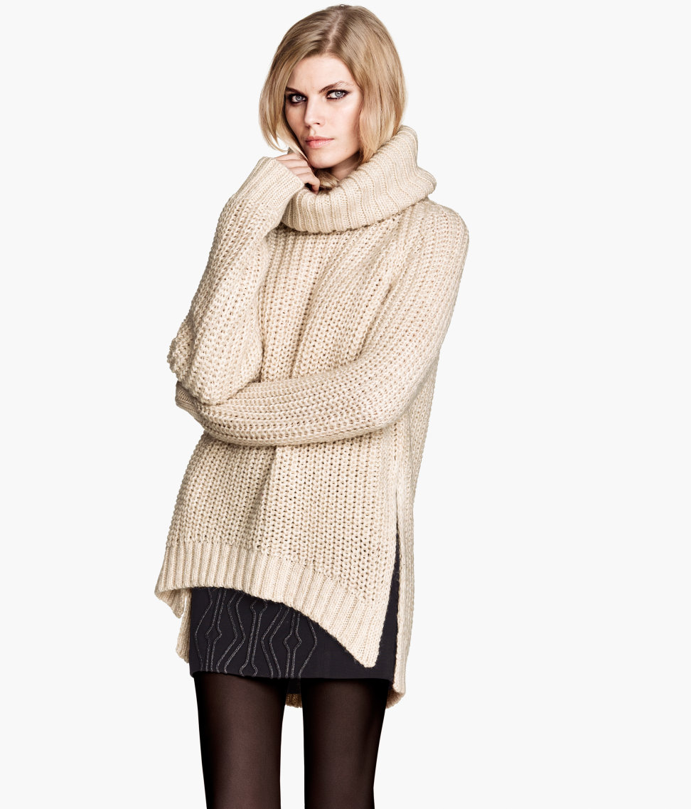 5803beae22a32e H&M Pattern-knit Polo-neck Jumper in Natural - Lyst