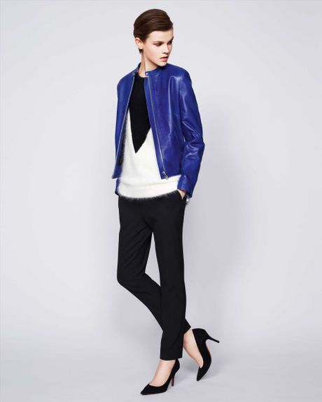 Jaeger Leather Jacket in Blue (Bright Blue) - Lyst