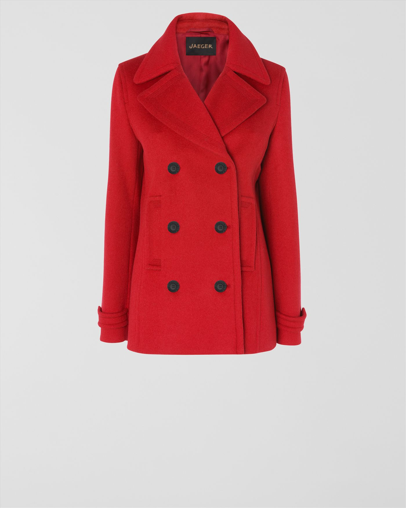 Jaeger Short Pea Coat in Red | Lyst