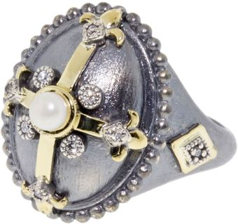 Judefrances Jewelry Pearl Cross Overlay Oval Ring - Lyst