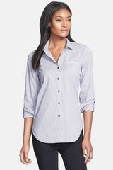 Lafayette 148 New York Roll Tab Sleeve Shirt - Lyst