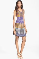 M Missoni Colorblock Zigzag Dress - Lyst