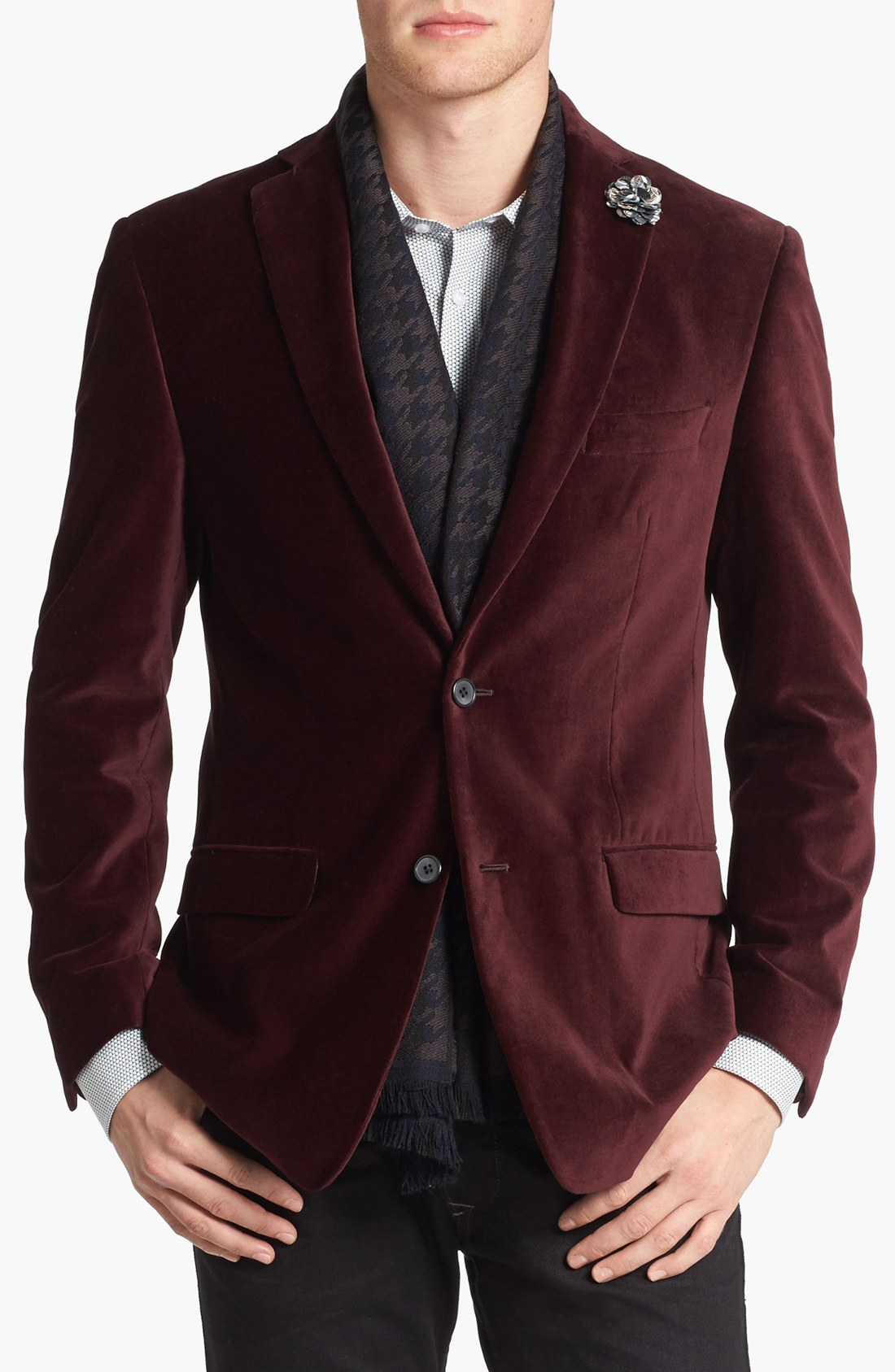 michael kors trim fit velvet blazer in purple for men burgundy lyst. Black Bedroom Furniture Sets. Home Design Ideas