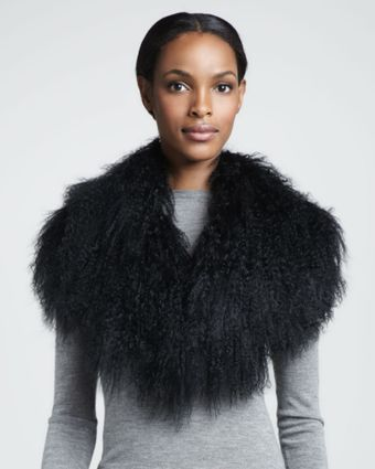 Pologeorgis Mongolian Lamb Fur Collar Black - Lyst
