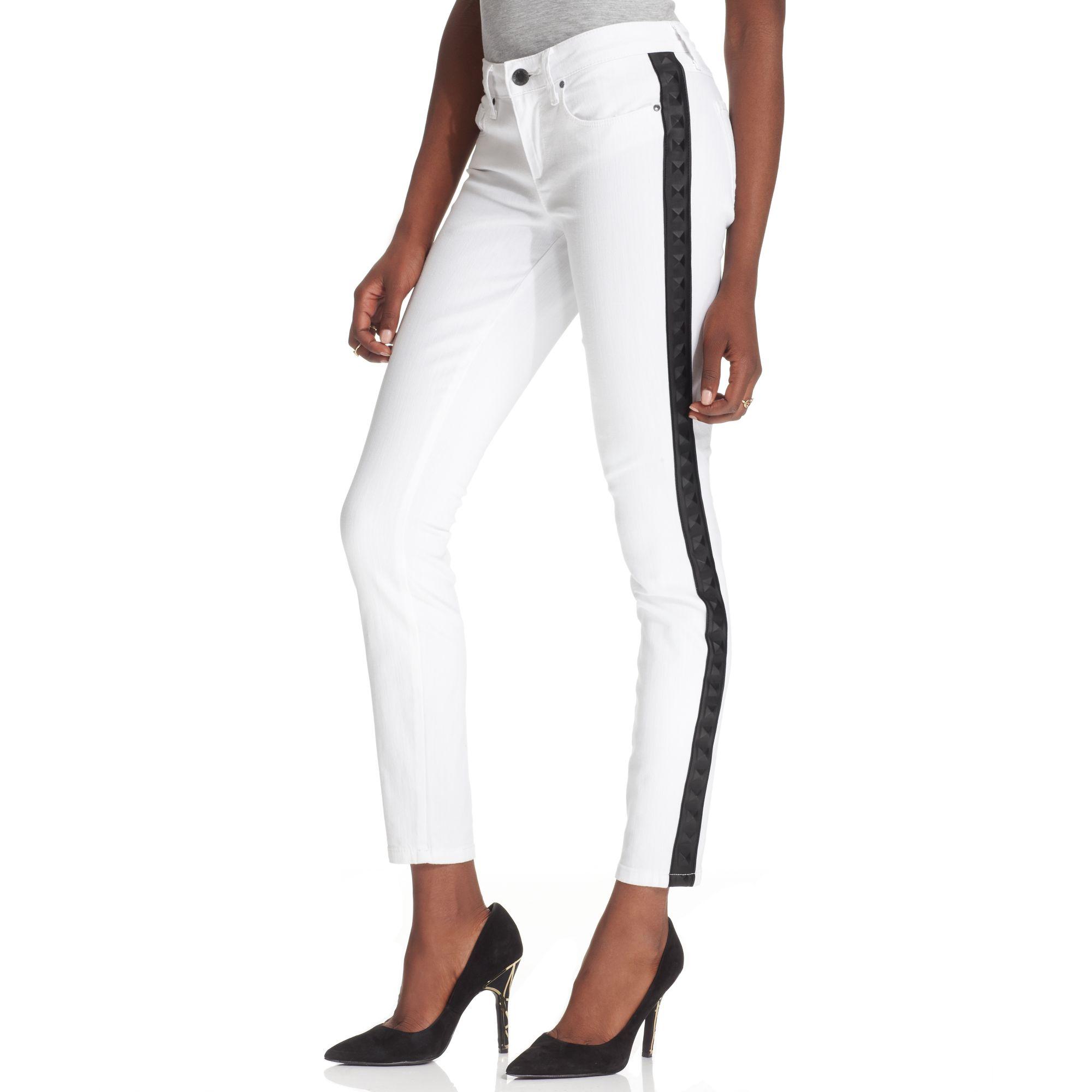 Rachel Rachel Roy Tuxedo Studded Skinny Jeans in White
