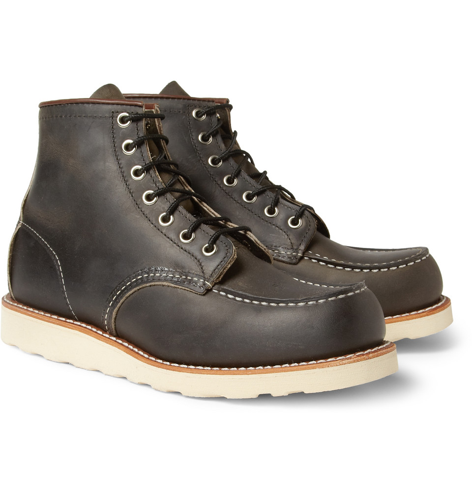 wing rubber soled leather boots in black for lyst