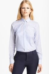 Saint Laurent Stripe Button Front Shirt - Lyst