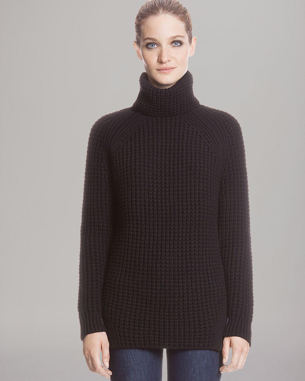 Sandro Oversized Turtleneck Sweater in Black | Lyst